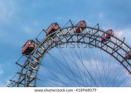 Wiener Riesenrad in Prater park - oldest and biggest Ferris wheel (1897, 64.75 meter) in Austria end Symbol of Vienna city. Austria. - stock photo