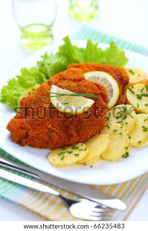 Wiener Schnitzel, breaded with potato salad - stock photo