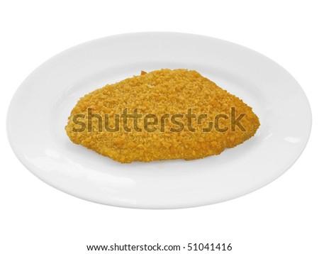Wiener Schnitzel - Cutlet on white dish. - stock photo