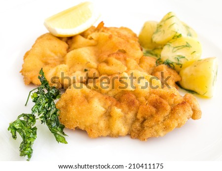 wiener schnitzel, veal cutlet and lemon, austrian cuisine