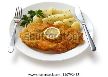 wiener schnitzel, veal cutlet, austrian cuisine - stock photo