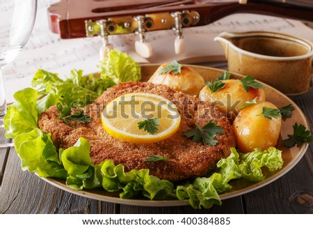 Wiener schnitzel with potatoes and salad, selective focus. - stock photo