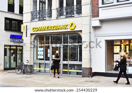 Wiesbaden,GERMANY- FEB 18:COMERC Bank on  February 18,2015 in Wiesbaden, Germany.Commerzbank AG is a German global banking and financial services company with its headquarters in Frankfurt. - stock photo