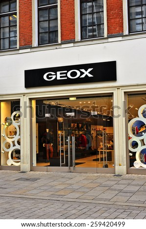 WIESBADEN,GERMANY-FEB 18:GEOX fashion store on February 18,2015 in Wiesbaden,Germany.Geox is an Italian brand of shoe and clothing manufactured with waterproof/breathable fabrics