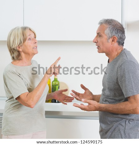 Wife arguing with her husband in the kitchen - stock photo