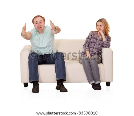 Wife brought husband to madness - stock photo