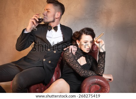 Wife has argue with her husband in beautiful apartment - stock photo