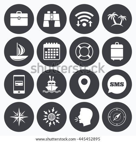 Wifi, calendar and mobile payments. Cruise trip, ship and yacht icons. Travel, cocktails and palm trees signs. Sunglasses, windrose and swimming symbols. Sms speech bubble, go to web symbols. - stock photo