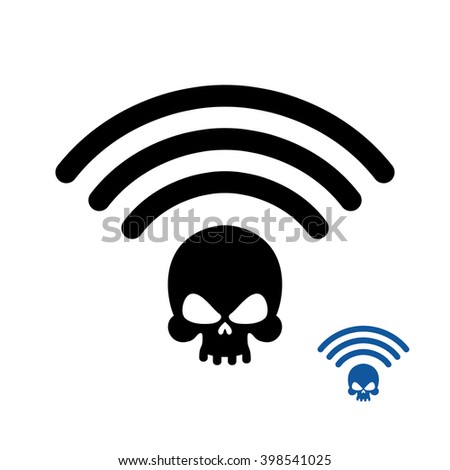 Wifi Death. Wireless transmission of death. Remote access of death. Wi-fi Wireless LAN skull. Wi fi Icon murder flat icon. Black information Waves coming from  head of  skeleton.