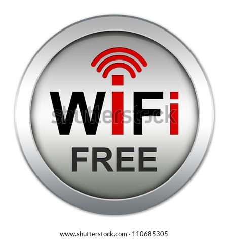WiFi Free Icon With Circle Metallic Style Icon Isolate on White Background - stock photo