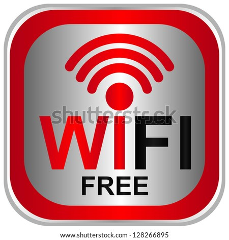 Wifi Free Sign With Square Red Glossy Style Icon Isolated on White Background - stock photo