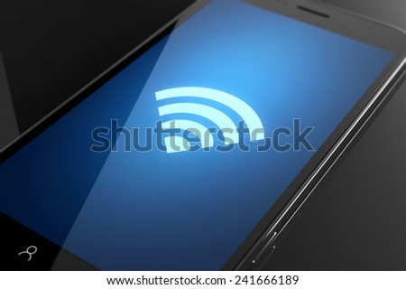 Wifi icon on smart phone screen - stock photo