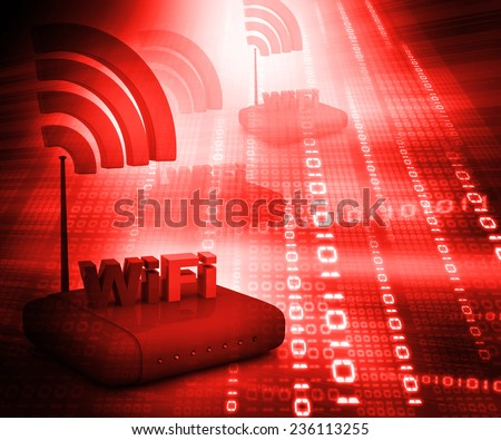 Wifi internet router switch modem on abstract red  binary background  - stock photo