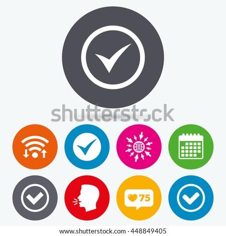 Wifi, like counter and calendar icons. Check icons. Checkbox confirm circle sign symbols. Human talk, go to web. - stock photo