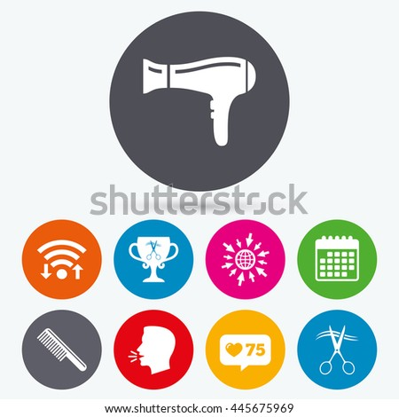 Wifi, like counter and calendar icons. Hairdresser icons. Scissors cut hair symbol. Comb hair with hairdryer symbol. Barbershop winner award cup. Human talk, go to web. - stock photo