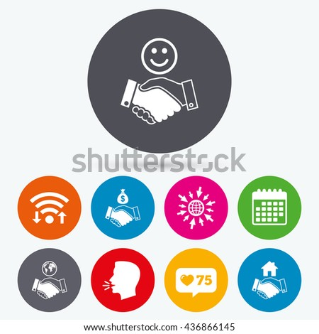 Wifi, like counter and calendar icons. Handshake icons. World, Smile happy face and house building symbol. Dollar cash money bag. Amicable agreement. Human talk, go to web. - stock photo