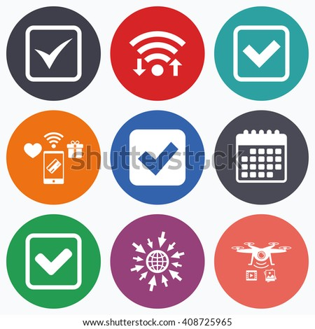 Wifi, mobile payments and drones icons. Check icons. Checkbox confirm squares sign symbols. Calendar symbol. - stock photo