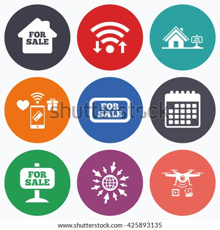 Wifi, mobile payments and drones icons. For sale icons. Real estate selling signs. Home house symbol. Calendar symbol. - stock photo