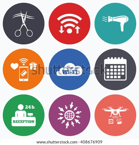 Wifi, mobile payments and drones icons. Hotel services icons. Wi-fi, Hairdryer in room signs. Wireless Network. Hairdresser or barbershop symbol. Reception registration table. Calendar symbol. - stock photo