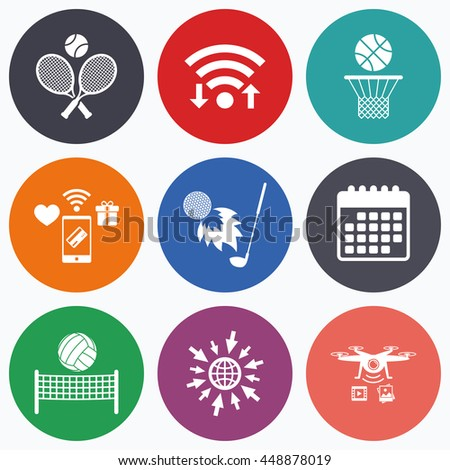 Wifi, mobile payments and drones icons. Tennis rackets with ball. Basketball basket. Volleyball net with ball. Golf fireball sign. Sport icons. Calendar symbol. - stock photo
