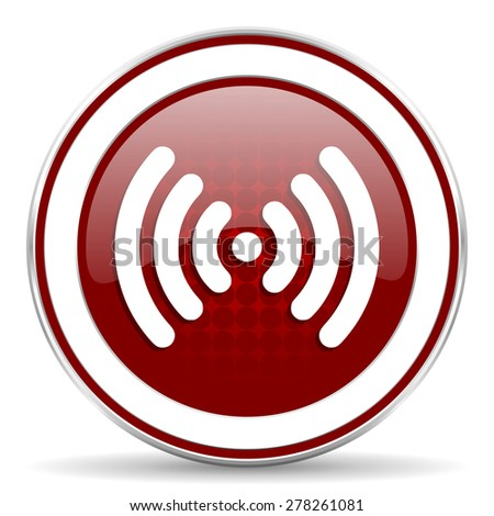 wifi red glossy web icon - stock photo