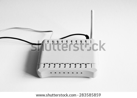 Wifi router isolated on white - stock photo
