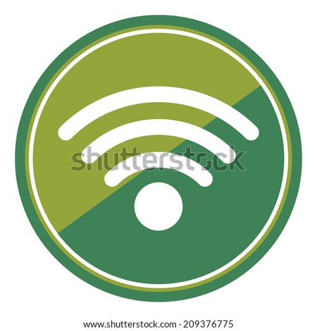 WIFI Sign on Green Circle Icon, Button, Label Isolated on White - stock photo