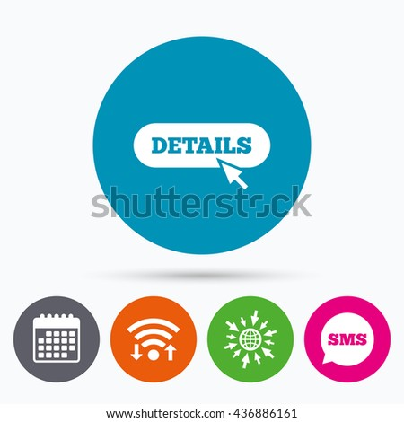 Wifi, Sms and calendar icons. Details with cursor pointer sign icon. More with mouse symbol. Website navigation. Go to web globe. - stock photo
