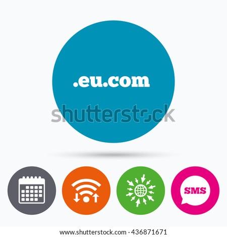 Wifi, Sms and calendar icons. Domain EU.COM sign icon. Internet subdomain symbol. Go to web globe. - stock photo