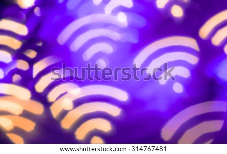 Wifi symbol. Abstract glowing blurred background. Bokeh. Defocused blinking shaped lights. Wi-fi backdrop - stock photo