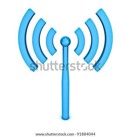 Wifi symbol icon on white background - stock photo