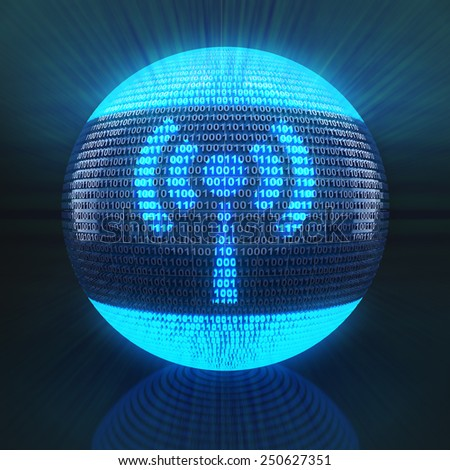 Wifi symbol on globe formed by binary code, 3d render