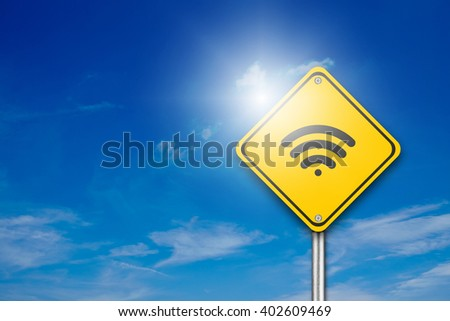 Wifi Symbol on yellow road sign with blue background