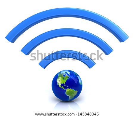 Wifi symbol with planet earth - stock photo