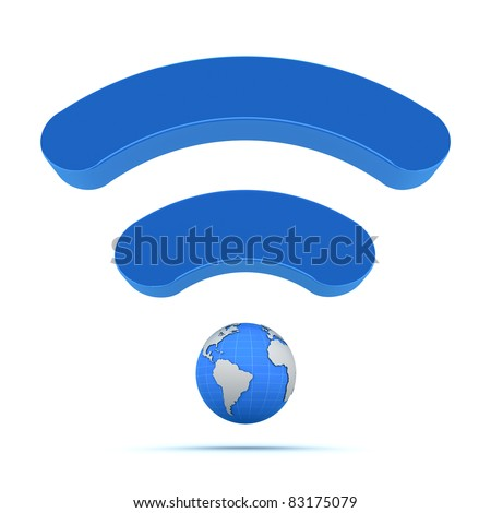 Wifi wireless global technology icon - stock photo