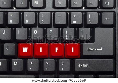 wifi word on red and black keyboard button - stock photo