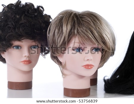 Wig display heads - stock photo