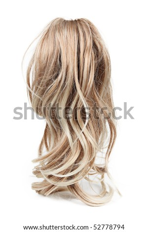 Wig of long blond hair isolated on white - stock photo