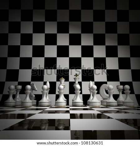 wihte chess background 3d illustration. high resolution - stock photo
