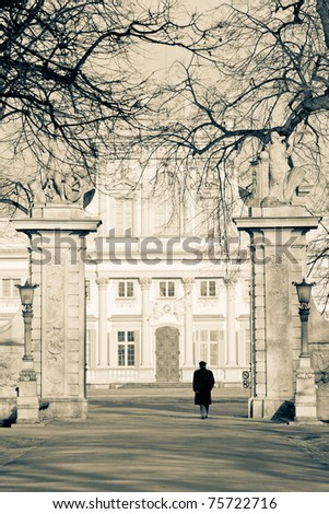 Wilanow Palace gate - stock photo