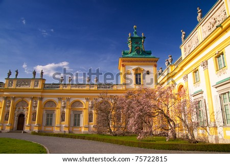 Wilanow Palace in Warsaw on a sunny day - stock photo