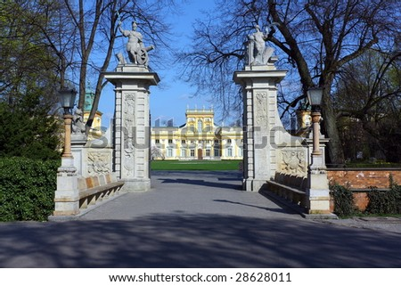 Wilanow Palace in Warsaw, Poland. Old residence of magnates. There is part of National Museum today. - stock photo