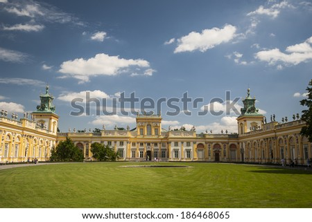 Wilanow palace in Warsaw/View of Wilanow royal palace in Warsaw built by king Sobieski in the XVII century Warsaw, Poland, August 17, 2011
