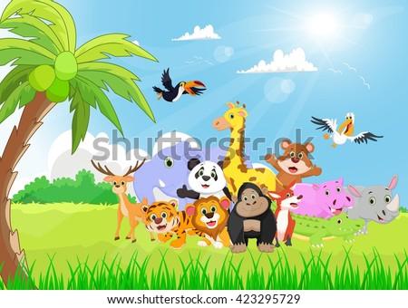 Wild Animal cartoon in the sunny garden - stock photo