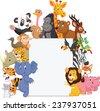 Wild animal cartoon with blank sign - stock photo