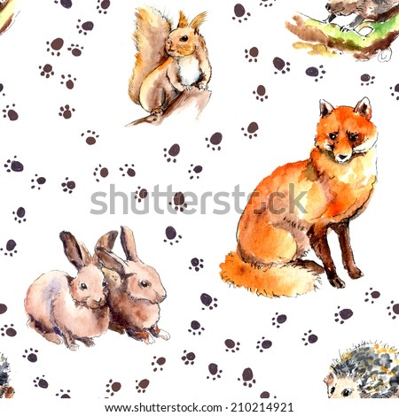 Wild animal pattern with footprint. Forest animals: squirrel, rabbits, hedgehog, fox. Watercolor seamless  - stock photo