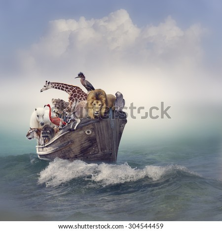 Wild Animals and Birds in an Old Boat - stock photo