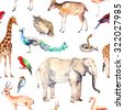 Wild animals and birds - zoo, wildlife (elefant, giraffe, deer, owl, parrot and other). Seamless pattern. Watercolor - stock vector