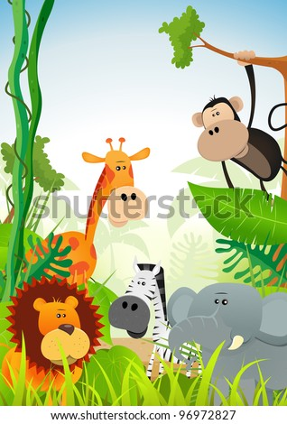 Wild Animals Background/ Illustration of cute cartoon wild animals from african savannah, including lion,  elephant,giraffe, gazelle, monkey and zebra on jungle background - stock photo
