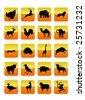Wild Animals Icons Set 01. Raster Illustration - stock photo